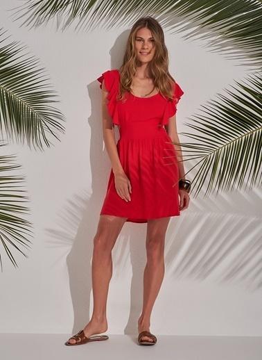 Morhipo Beach Volan Detaylı Elbise Kırmızı